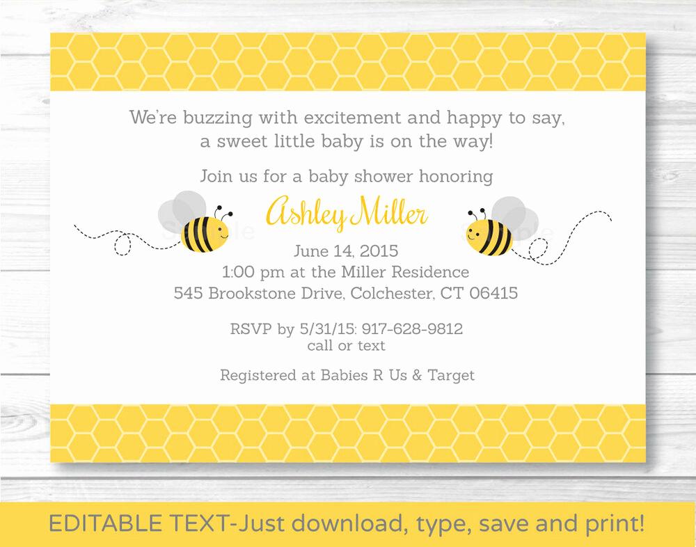 Baby Shower Invitation Printable Unique Yellow & Grey Bumble Bee Printable Baby Shower Invitation