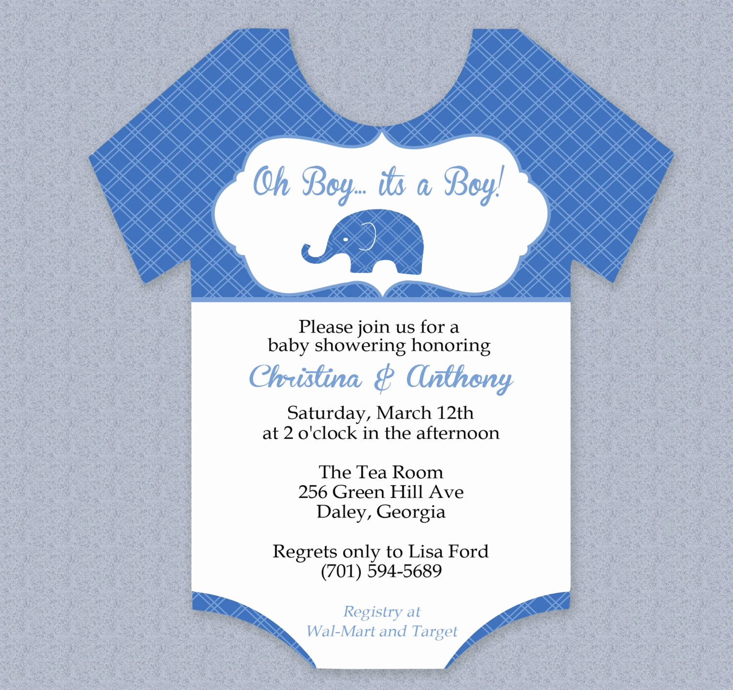 Baby Shower Invitation Template Word Awesome Plaid Elephant Esie Baby Shower Invitation Editable Cutout