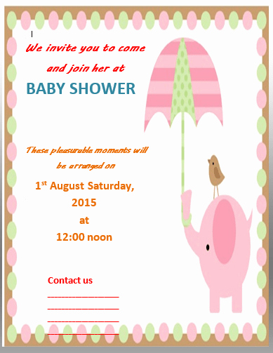 Baby Shower Invitation Template Word Elegant Baby Shower Invitation Template