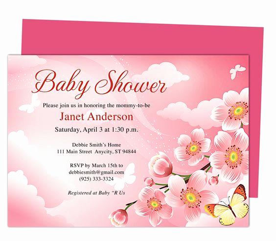 Baby Shower Invitation Template Word Inspirational Baby Shower Invitations Templates butterfly Kisses Shower