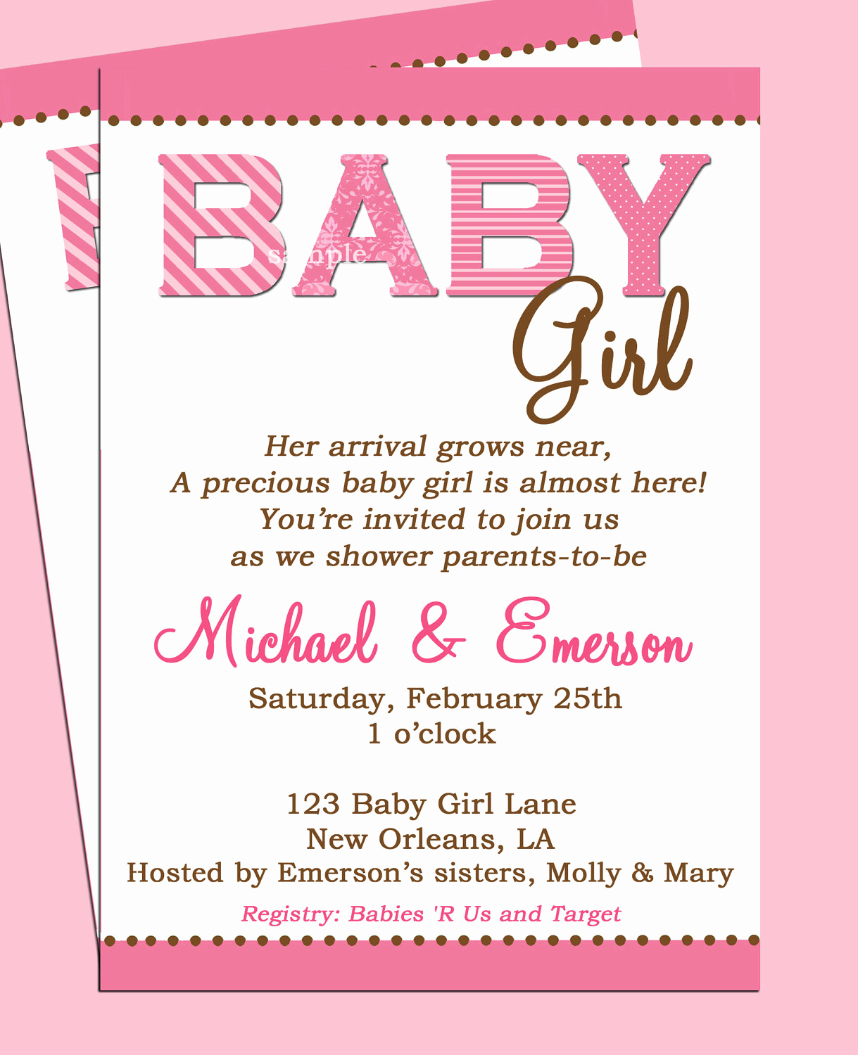 Baby Shower Invitation Templates Elegant Baby Shower Invitation Printable or Printed with Free Shipping