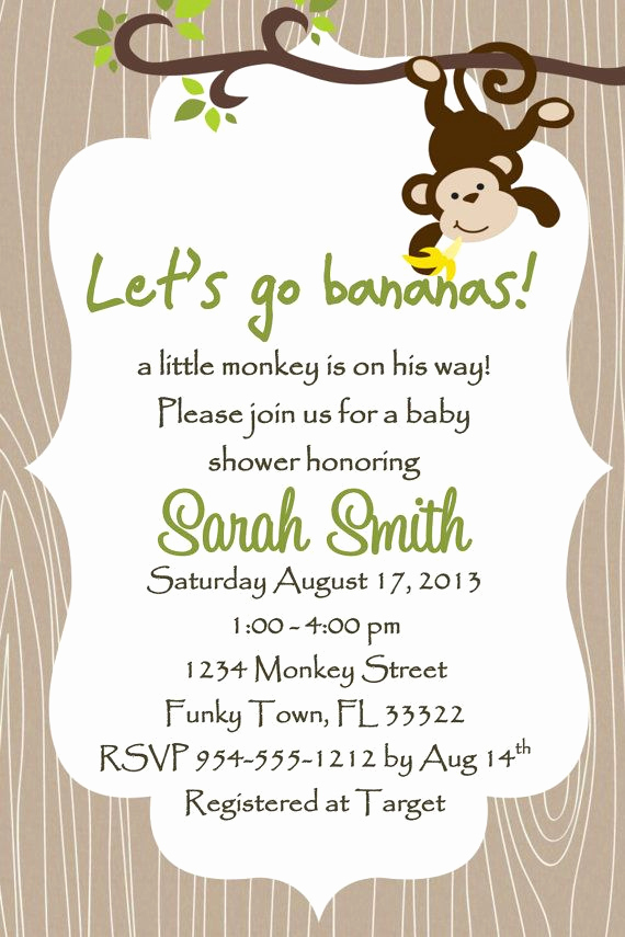 Baby Shower Invitation Templates New Monkey Baby Shower Invitation Template 4x6 Boy