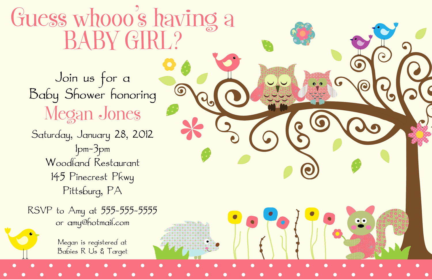 Baby Shower Invitation Templates New Whimsey Owl Whimsical Girl Digital Baby Shower by Bdesigns4you