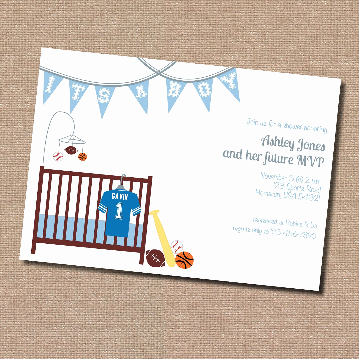 Baby Shower Invitation themes Awesome Sports theme Baby Shower Invitation Digital File Only