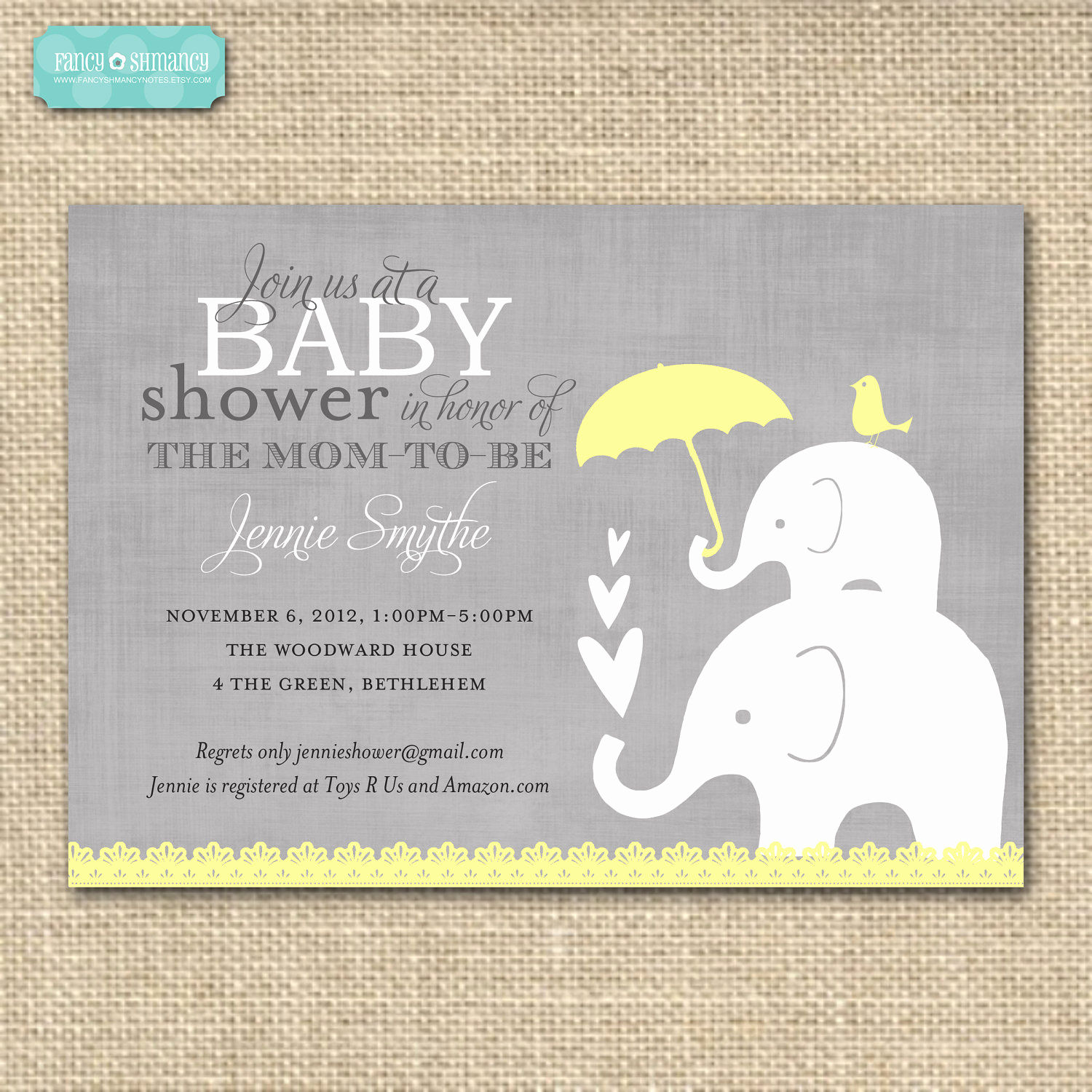 Baby Shower Invitation themes Beautiful Baby Shower Invitationelephant Yellow and by