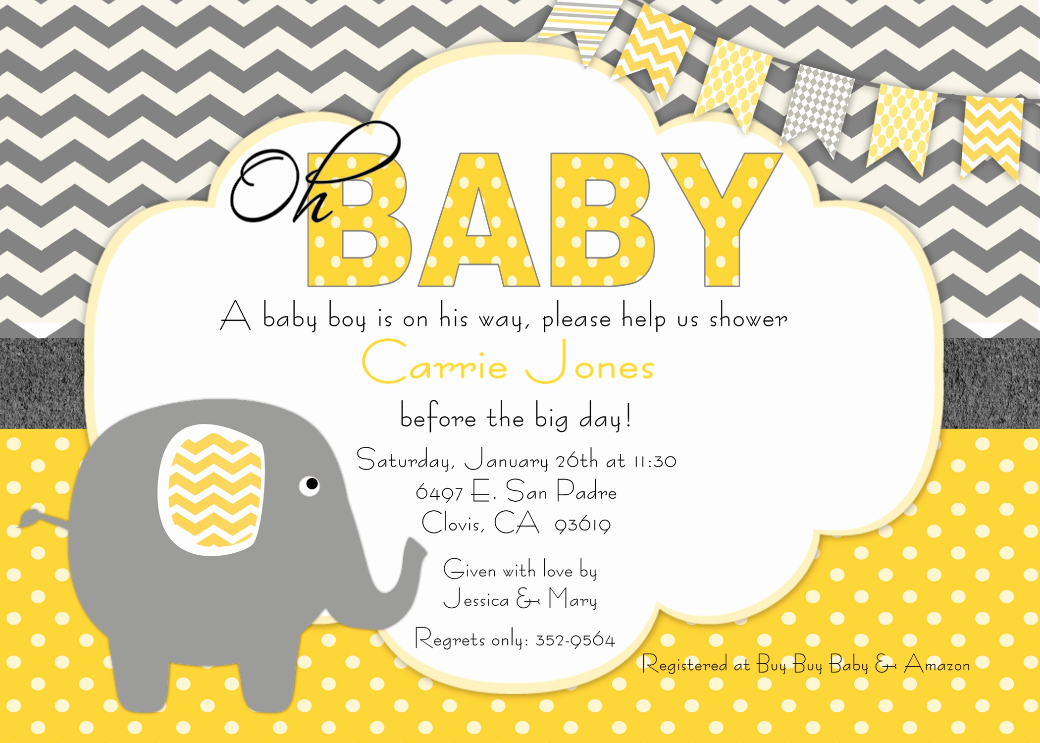 Baby Shower Invitation themes Beautiful Elephant