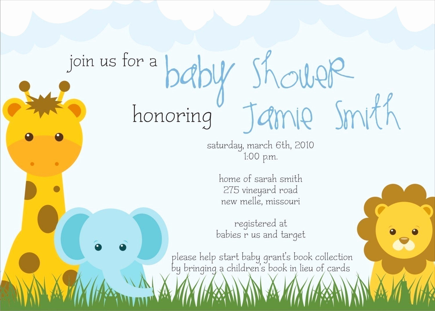 Baby Shower Invitation themes Beautiful Safari theme Baby Shower Invite