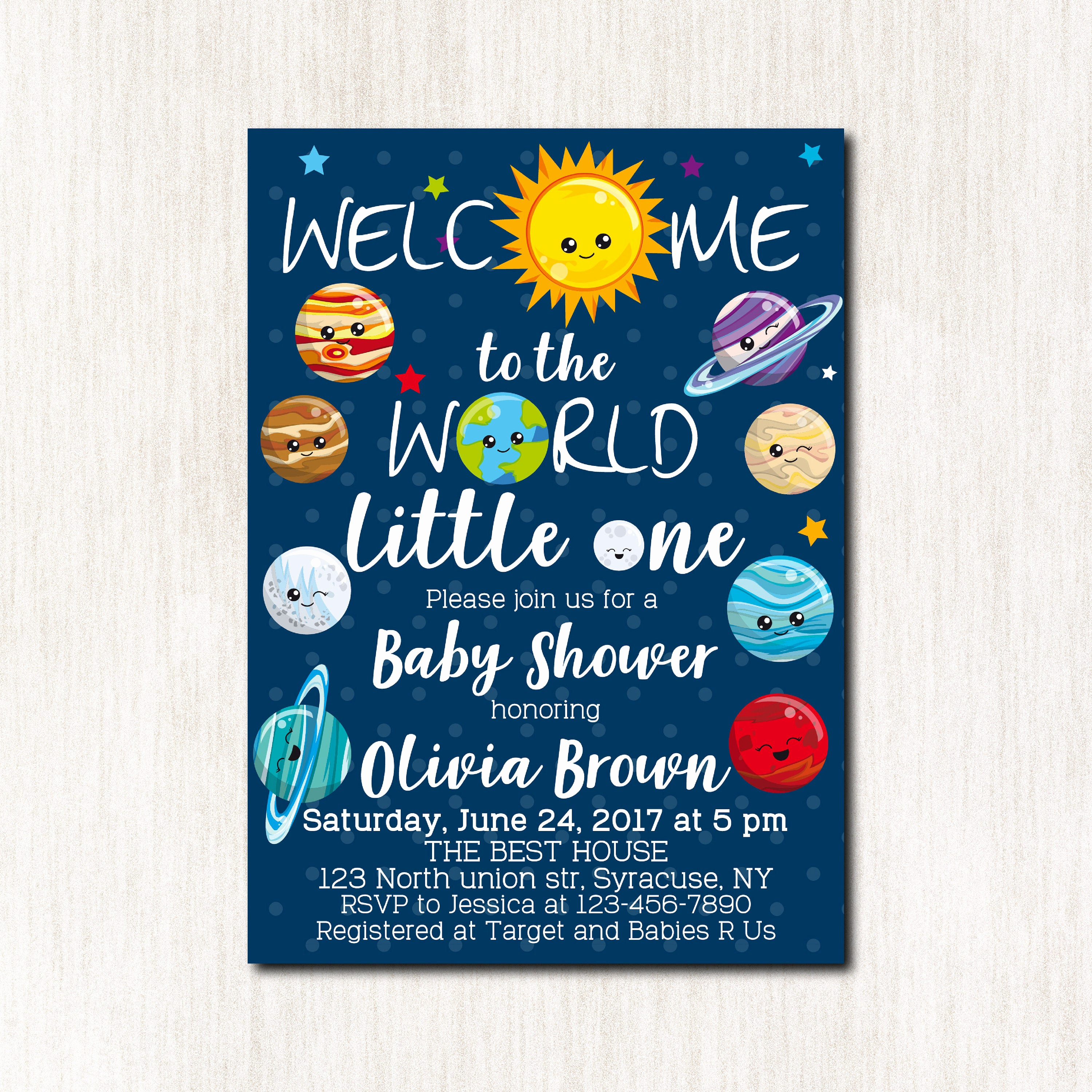 Baby Shower Invitation themes Best Of Space theme Baby Shower Invitations solar System Baby