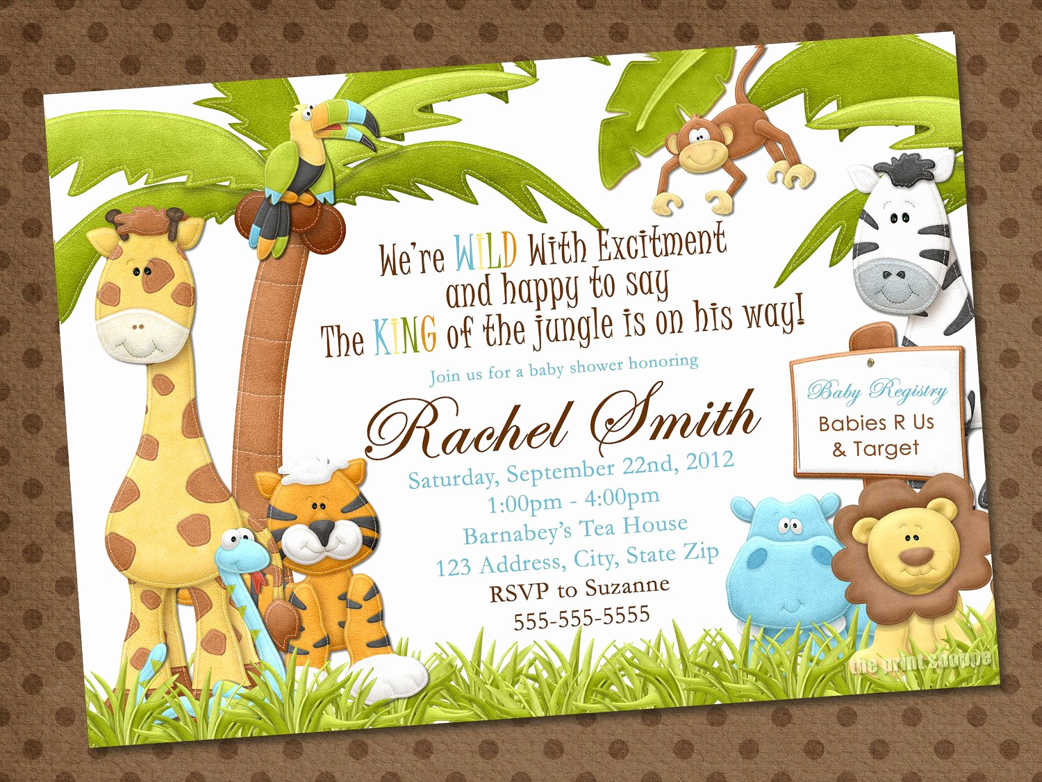Baby Shower Invitation themes Elegant Jungle Safari Zoo themed Party Invitations
