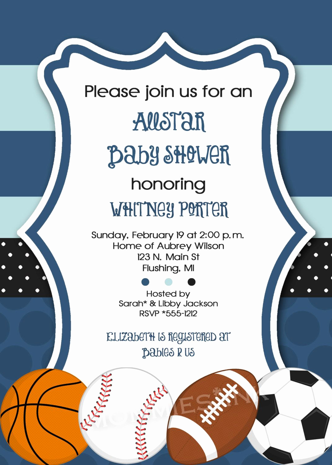 Baby Shower Invitation themes Elegant Mod Allstar Sports theme Baby Shower Invitation All Star
