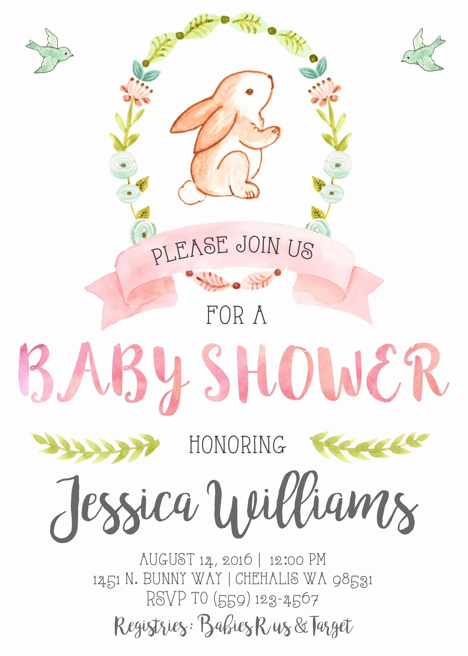 Baby Shower Invitation themes Luxury Bunny Baby Shower Invitation Invite Our Little Bunny