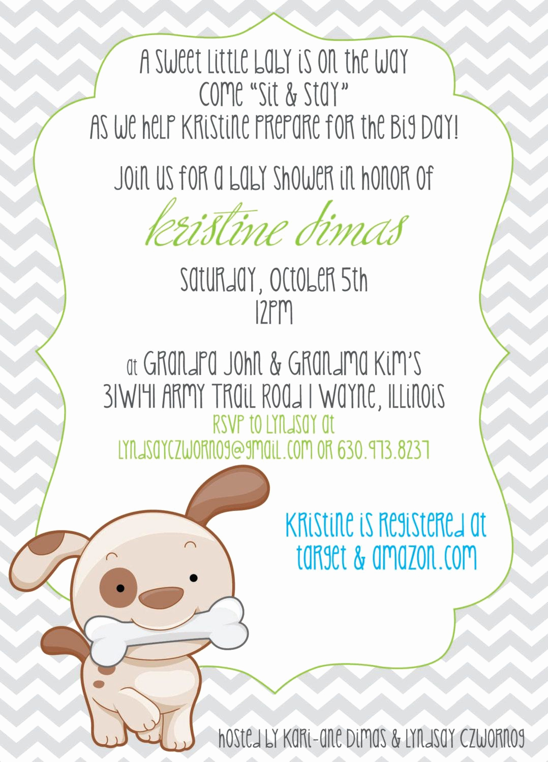 Baby Shower Invitation themes New Chevron & Puppy or Dog theme Baby Shower Invitation by