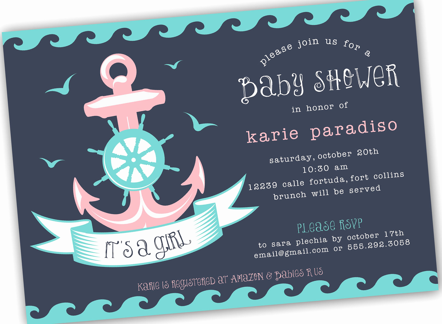 Baby Shower Invitation themes New Nautical themed Girl Boy or Neutral Baby Shower Invite 4x6
