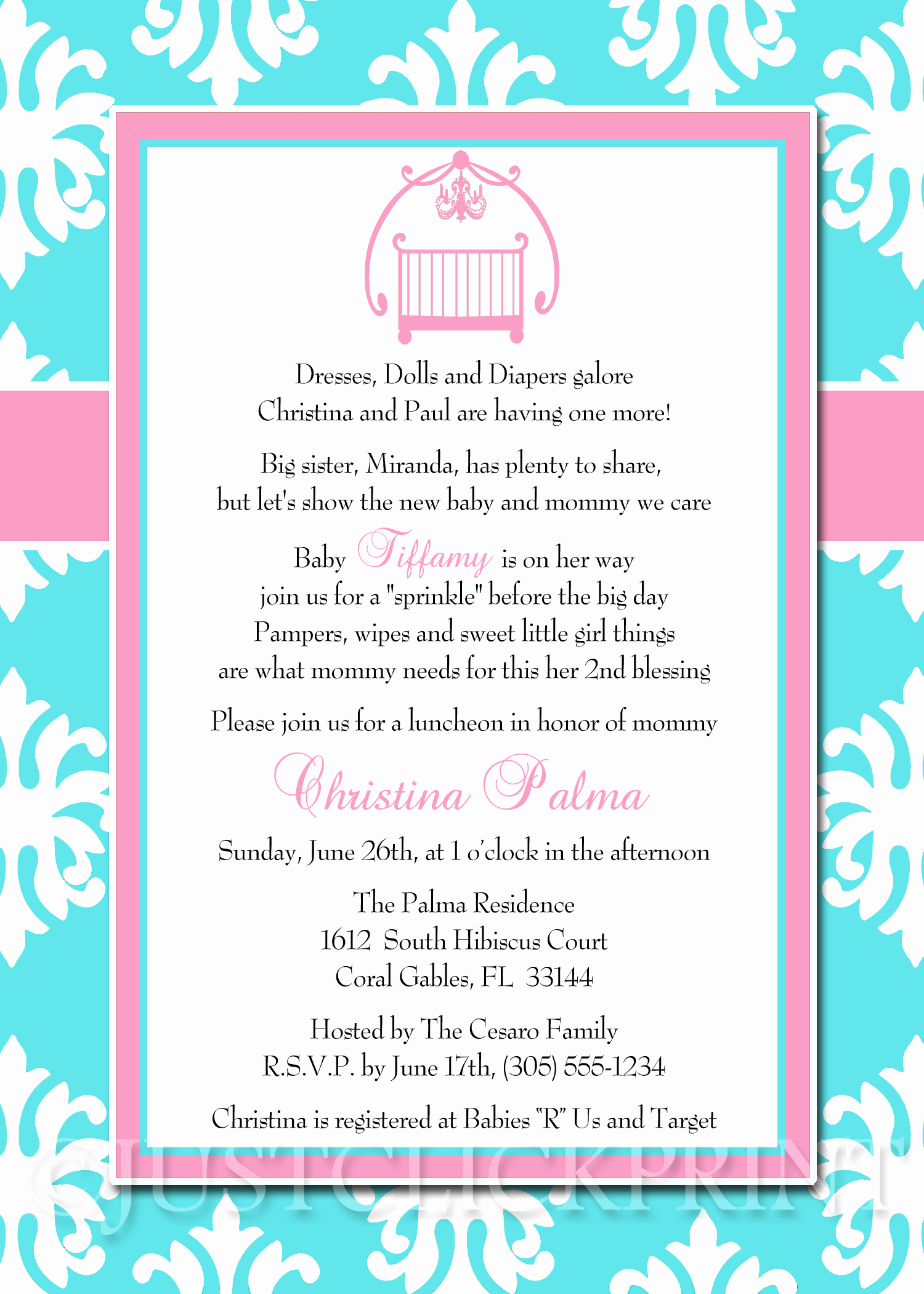Baby Shower Invitation Wording Awesome Baby Sprinkle Tiffany Blue Pink Damask Baby Shower