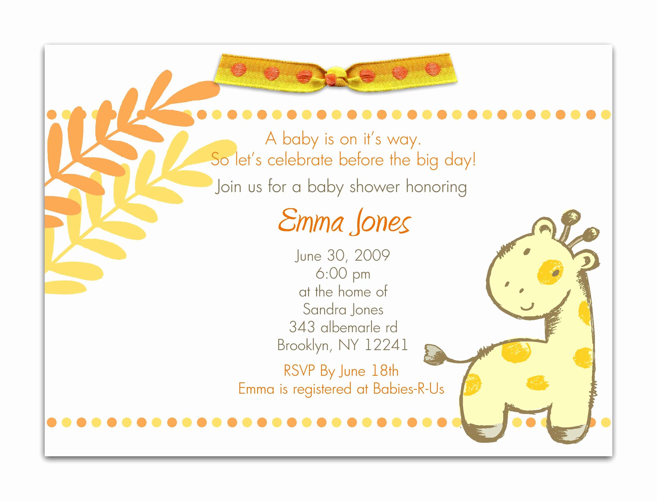 Baby Shower Invitation Wording Best Of Baby Shower Invitation Baby Shower Invitation Templates