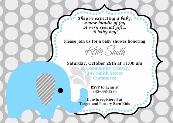 Baby Shower Invitation Wording Luxury Printable Blue Elephant Baby Shower Invitation Customized