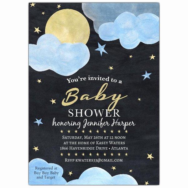 Baby Shower Invitation Wording New Night Sky Baby Shower Invitations