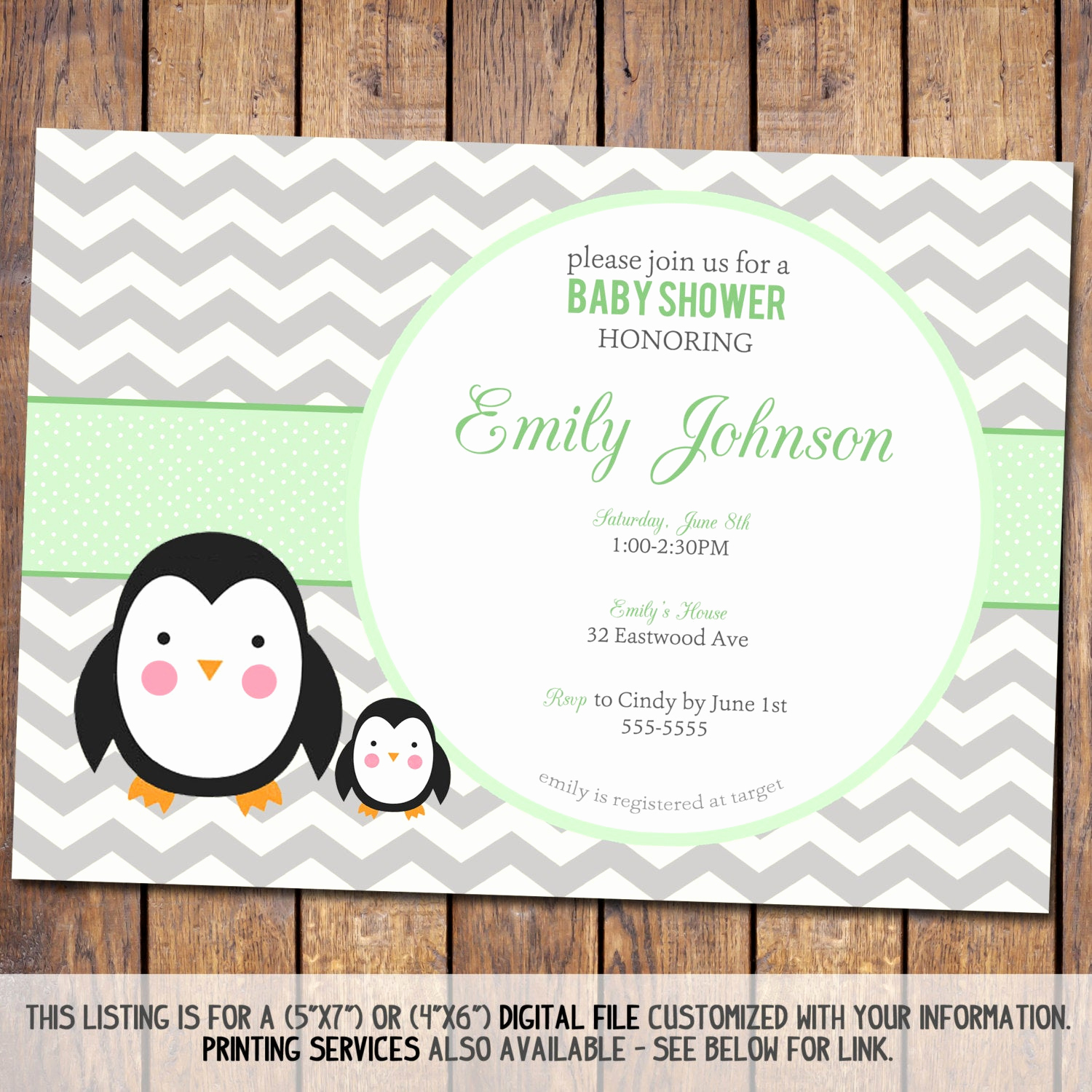 Baby Shower Pics for Invitation Awesome Chevron Baby Shower Invitation Penguin Baby Shower Invitation