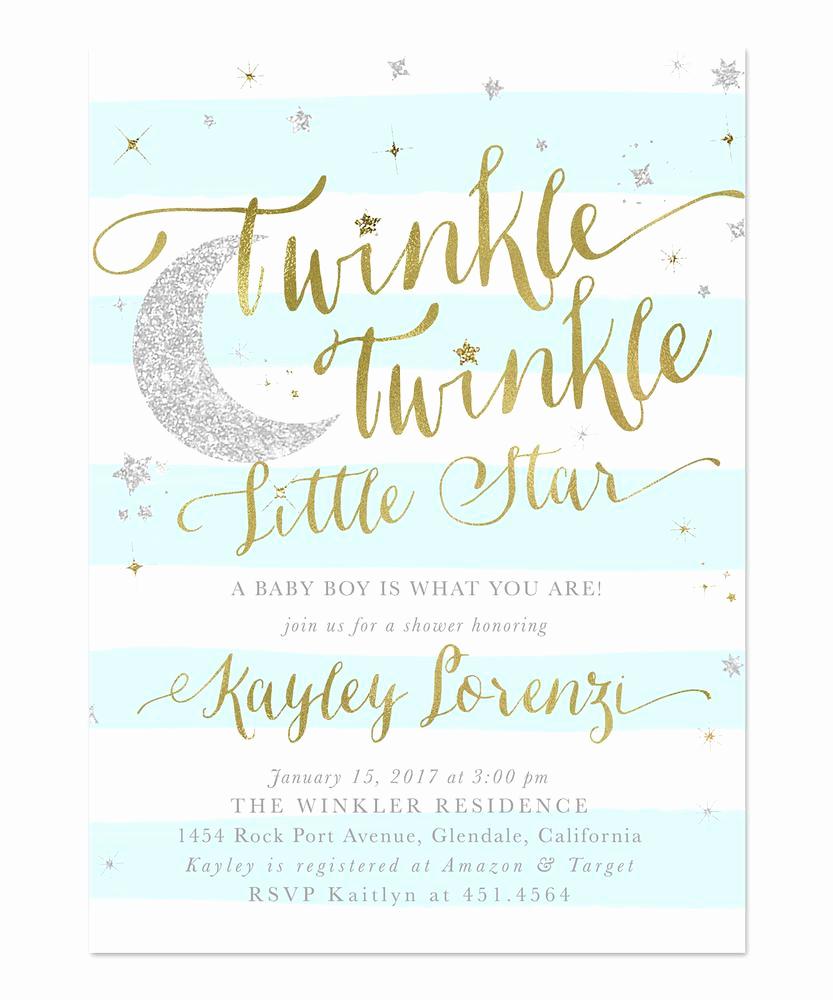 Baby Shower Pics for Invitation Elegant Twinkle Twinkle Little Star Boy Baby Shower Invitation