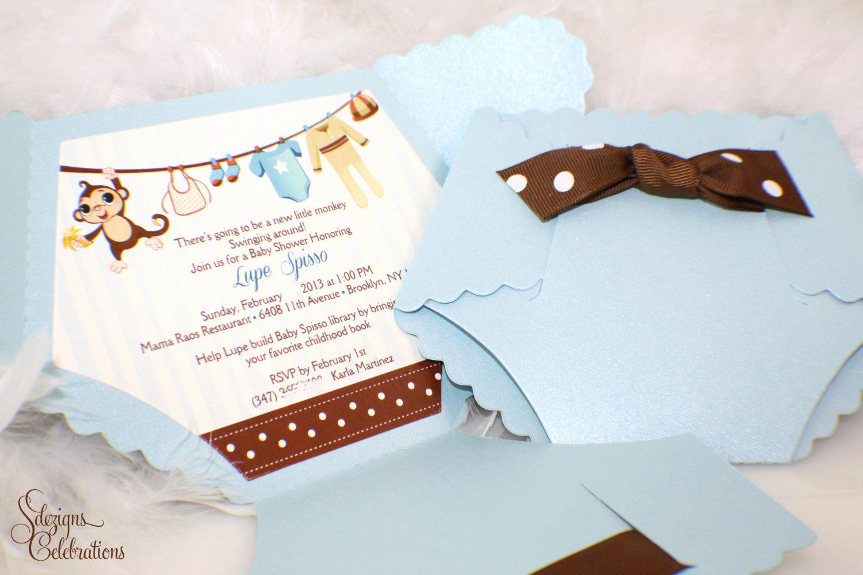 Baby Shower Pics for Invitation Fresh Diaper Baby Shower Invitation Monkey Baby Shower Invitation