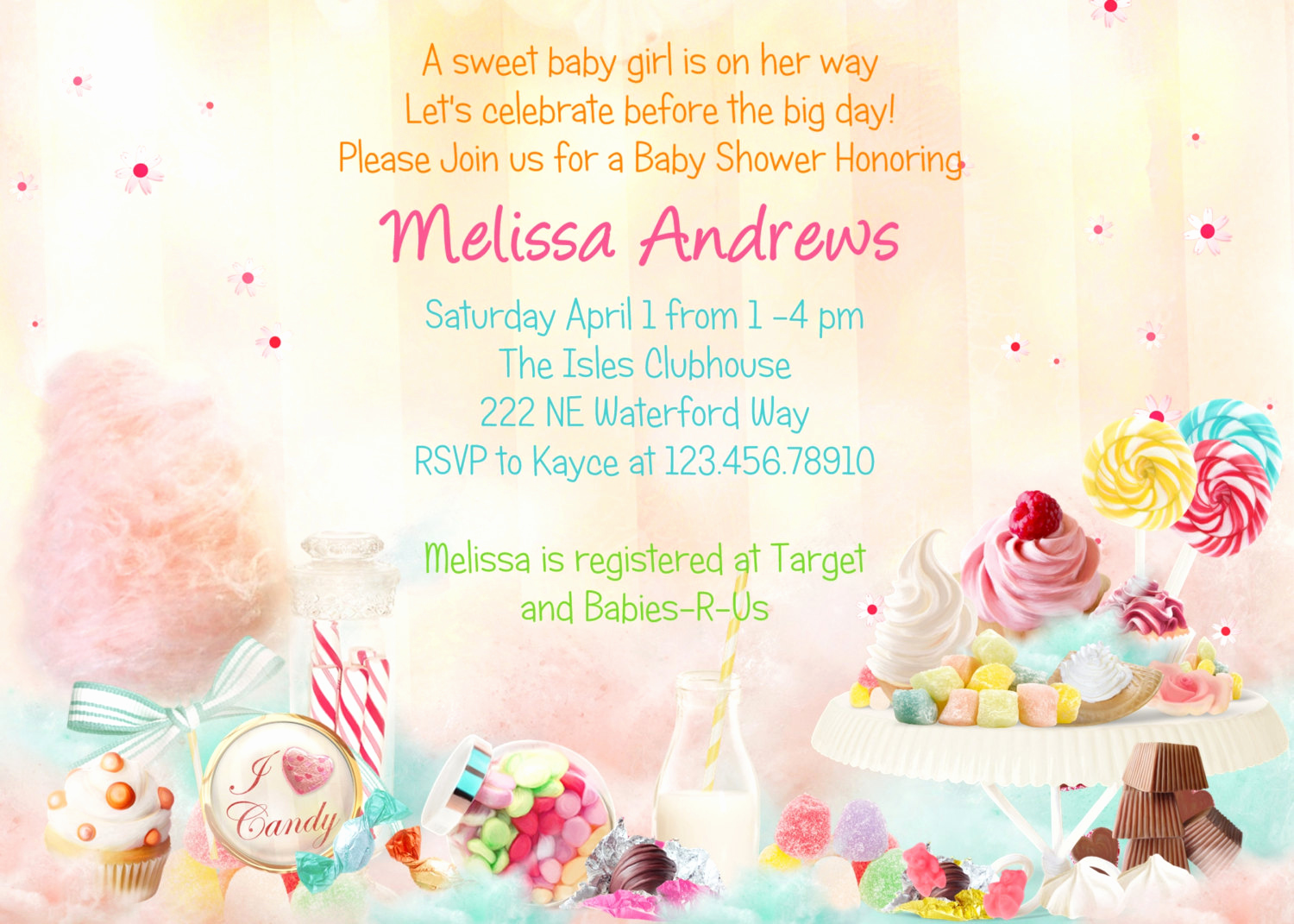 Baby Shower Pics for Invitation Inspirational Candy theme Baby Shower Invitation Sweet 16 Printable and