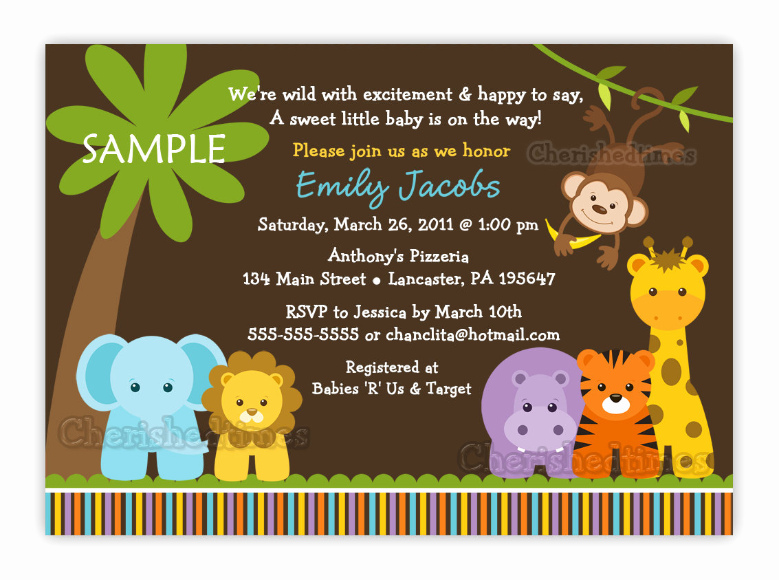 Baby Shower Safari Invitation Awesome Jungle Safari Wild Animals Baby Shower Invitation You Print