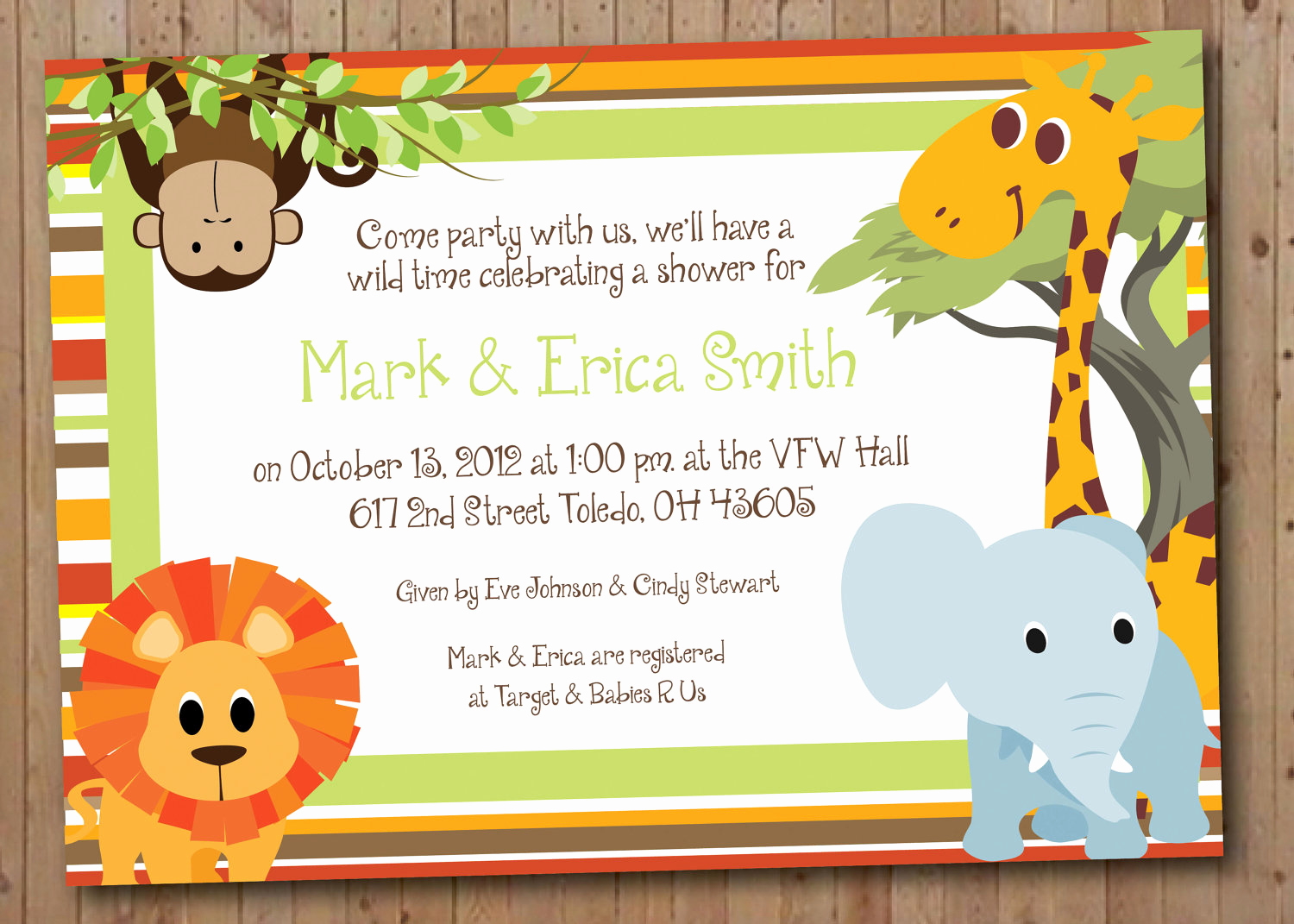 Baby Shower Safari Invitation Beautiful Safari Baby Shower or Birthday Party Invitation by