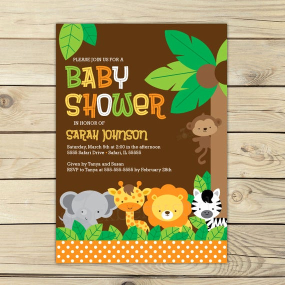 Baby Shower Safari Invitation Best Of Jungle Safari Baby Shower Invitation Printable Safari