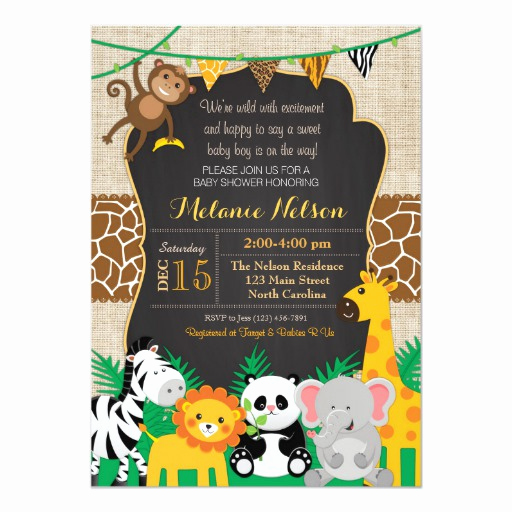 Baby Shower Safari Invitation Elegant Jungle Safari Wild Baby Shower Invitation