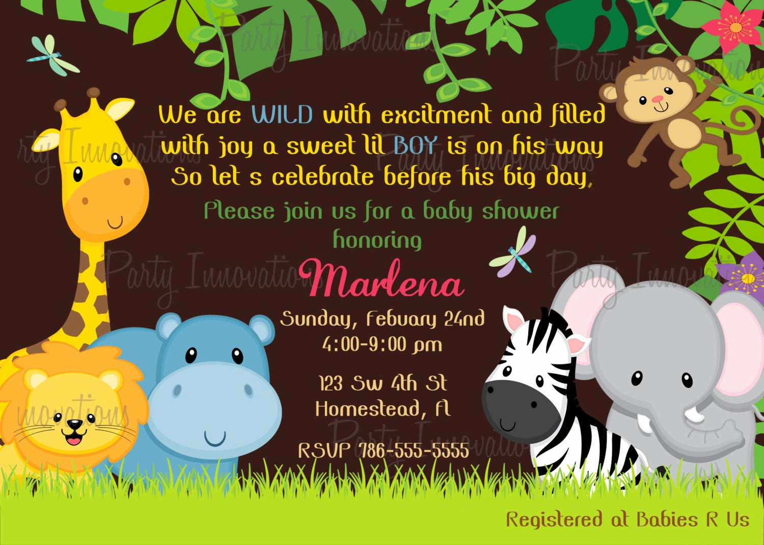 Baby Shower Safari Invitation Elegant Printable Jungle Safari Invitation Plus Free Blank Matching