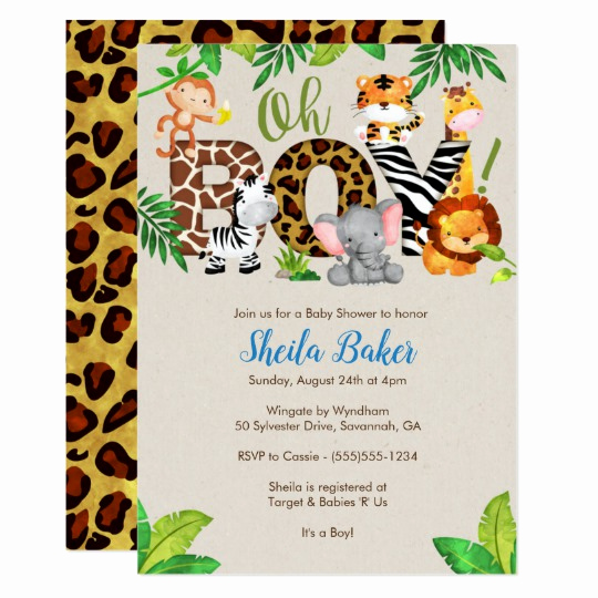Baby Shower Safari Invitation Lovely Jungle Baby Shower Invitation Boy Baby Shower