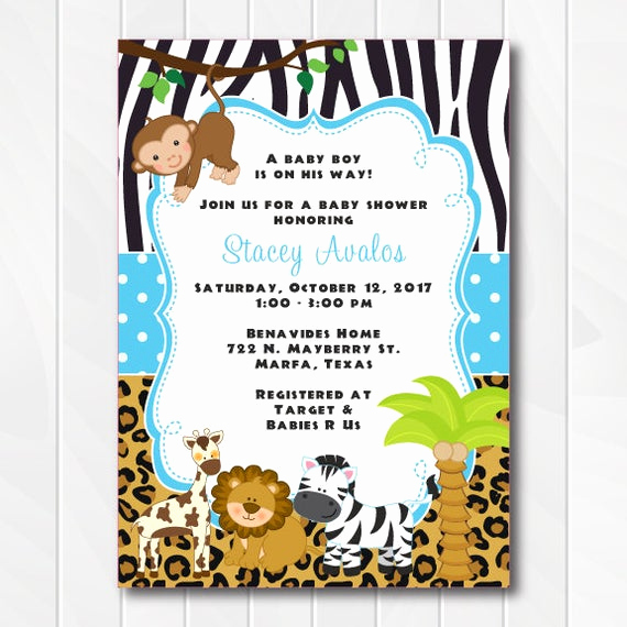 Baby Shower Safari Invitation Lovely Jungle Safari Invitations for Boys Safari Baby Shower Invite