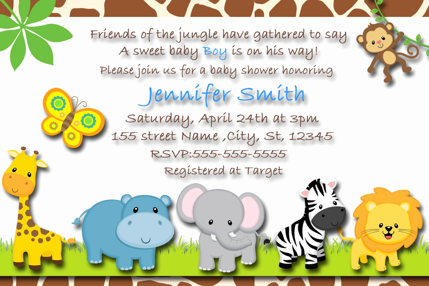 Baby Shower Safari Invitation Lovely Safari Baby Shower Invitation Safari Baby Boy Invitation