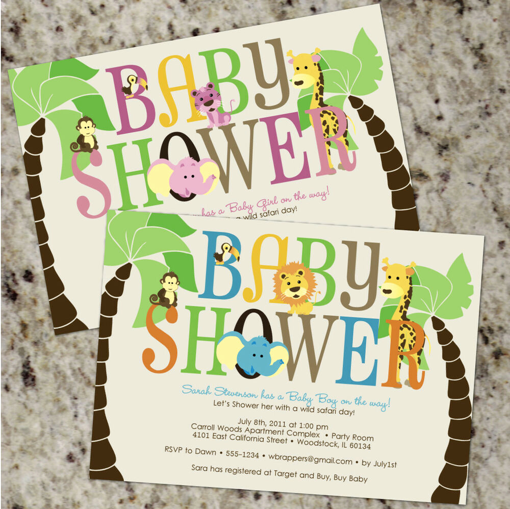 Baby Shower Safari Invitation Lovely Safari Baby Shower Invitations Boy or Girl Jungle