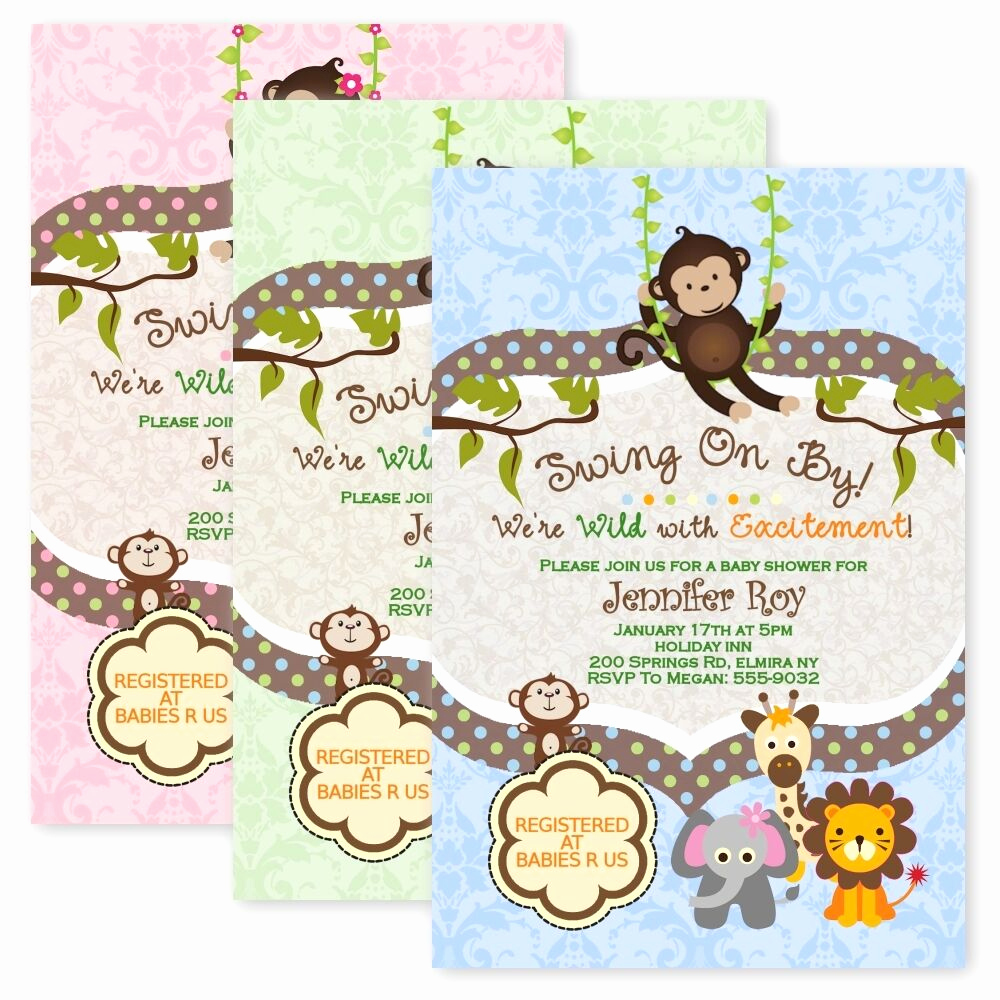 Baby Shower Safari Invitation Luxury Jungle Baby Shower Invitations Swinging Monkey Giraffe