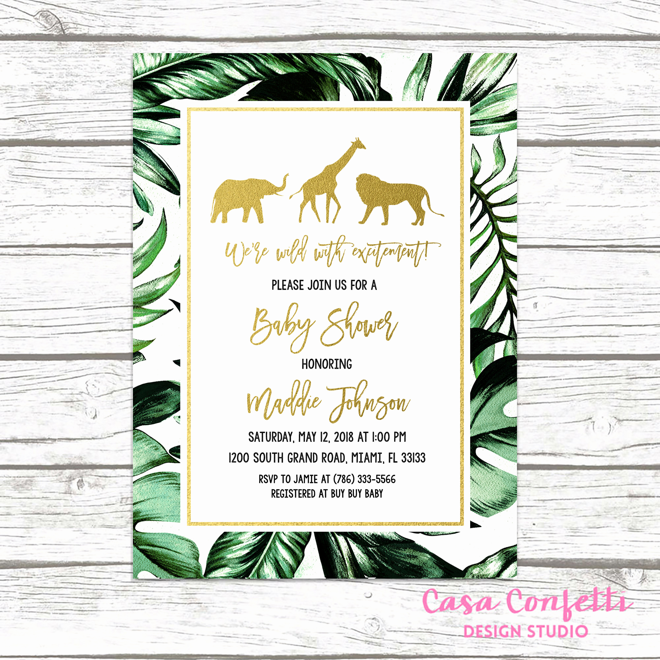 Baby Shower Safari Invitation New Safari Baby Shower Invitation Gold Safari Baby Shower