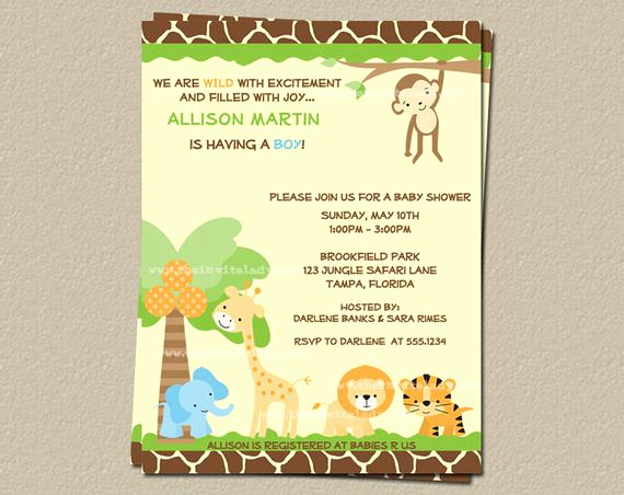 Baby Shower Safari Invitation New Safari Baby Shower Invitations Jungle theme by