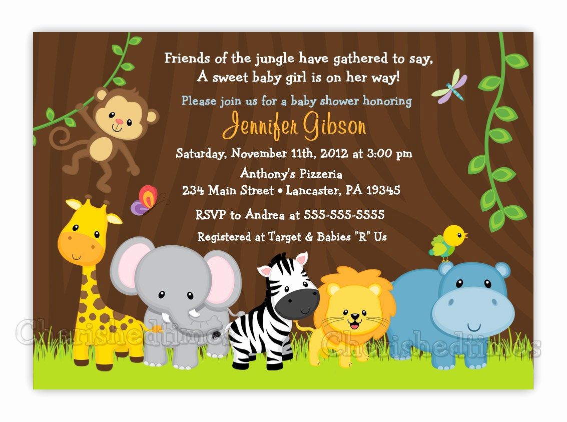 Baby Shower Safari Invitation Unique Jungle Friends Girl or Boy Baby Shower or by Cherishedtimes