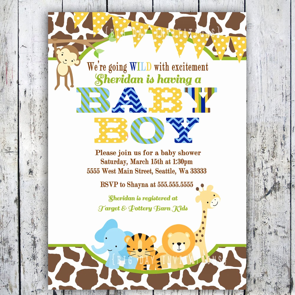 Baby Shower Safari Invitation Unique Safari Baby Shower Invitations Jungle Animal by