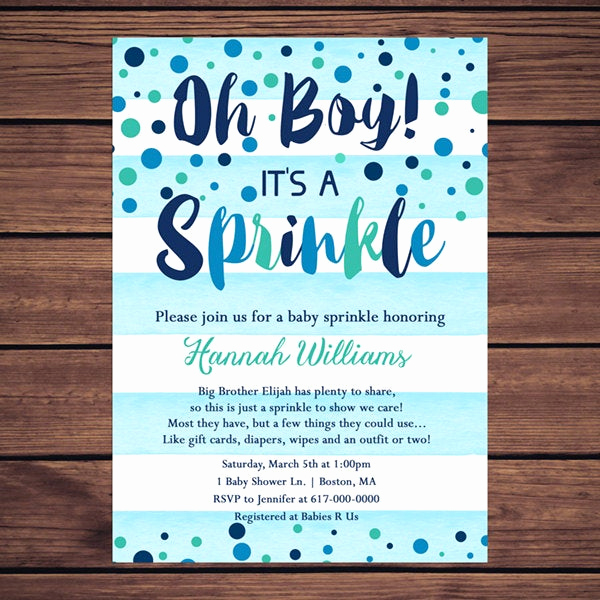 Baby Sprinkle Invitation Wording Awesome Baby Sprinkle Invitation Boy Blue Watercolor Stripes Blue