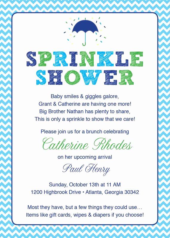 Baby Sprinkle Invitation Wording Elegant Baby Shower Invitation Sprinkle Blue Chevron Umbrella