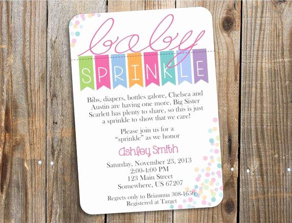 Baby Sprinkle Invitation Wording Elegant Baby Sprinkle Invitation Baby Shower Banner Girl Pdf
