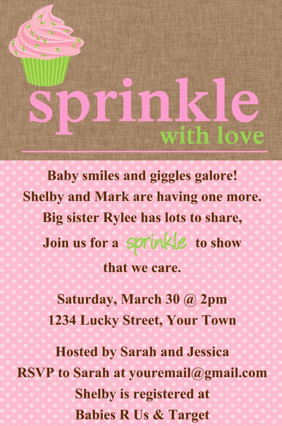 Baby Sprinkle Invitation Wording Lovely Sprinkle Baby Shower Cupcake Invitation Template by