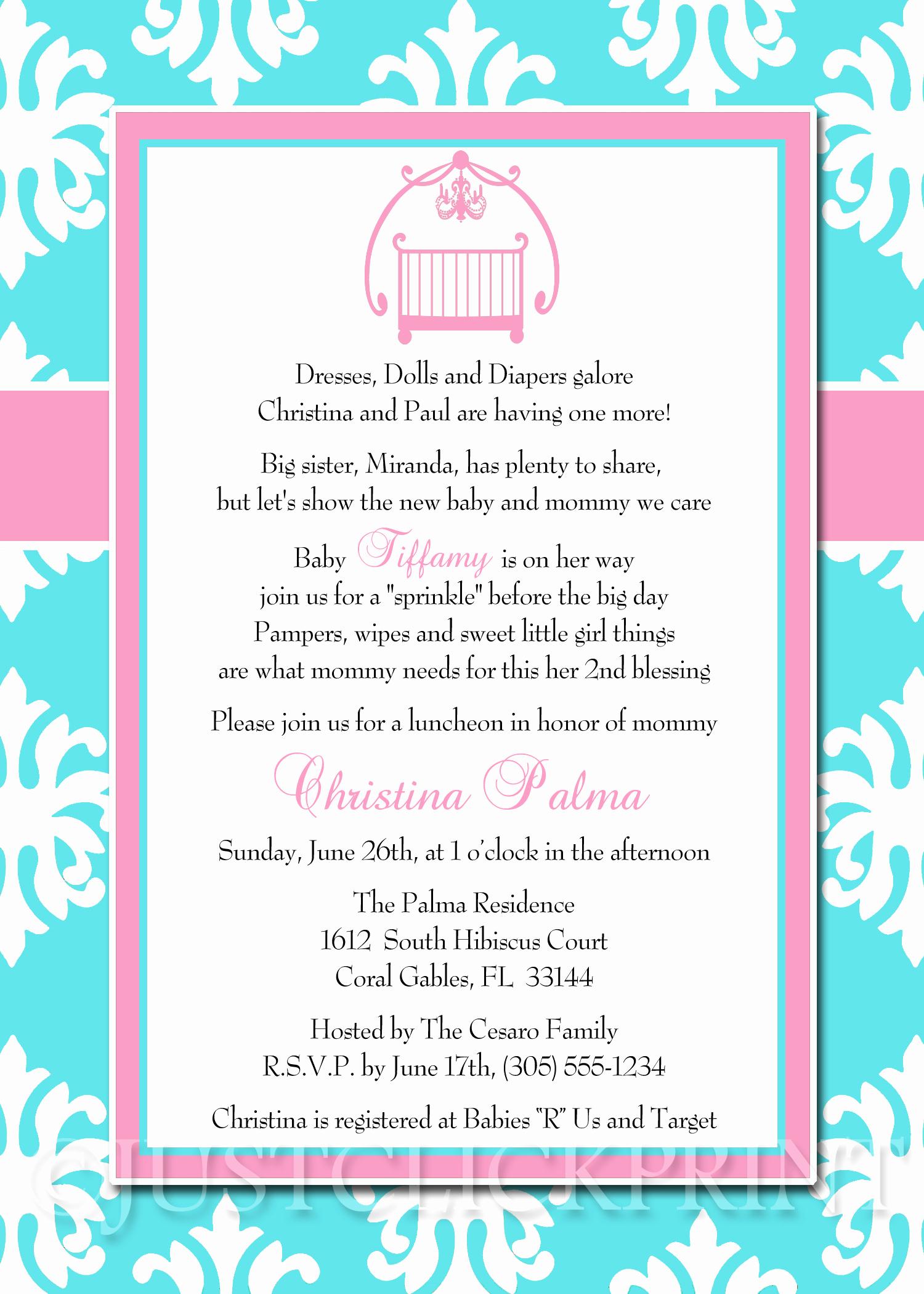 Baby Sprinkle Invitation Wording Luxury Baby Sprinkle Tiffany Blue Pink Damask Baby Shower