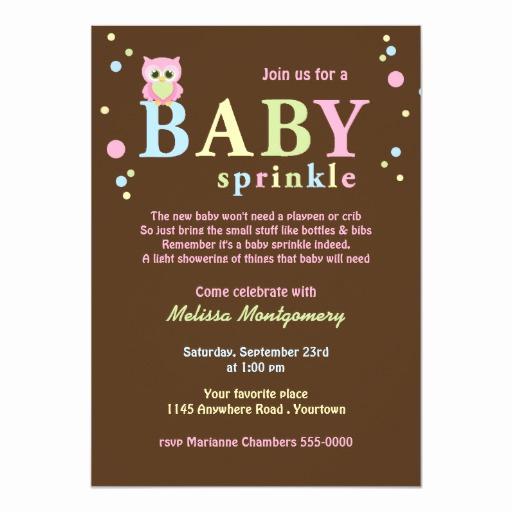 Baby Sprinkle Invitation Wording New Pink Owl Baby Sprinkle Invitation