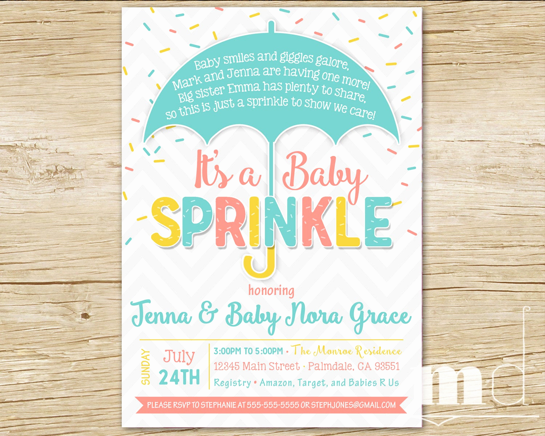 Baby Sprinkle Invitation Wording Unique Sprinkle Baby Shower Invitation Baby Sprinkle Shower Party