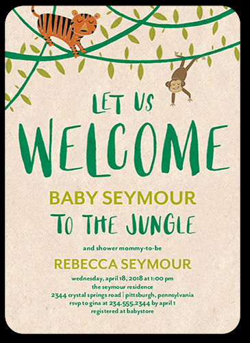 Baby Welcome Party Invitation Inspirational Wel E to the Jungle 5x7 Unique Baby Shower Invitations