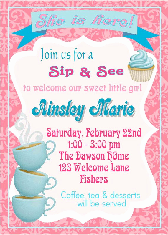 Baby Welcome Party Invitation Lovely Digital Sip & See Coffee themed Baby Girl Wel E