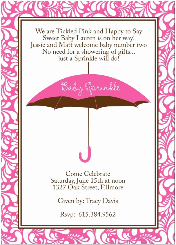 Baby Welcome Party Invitation New Baby Girl Sprinkle Shower Invitation to Wel E Second