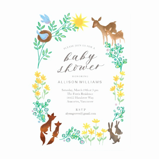 Baby Welcome Party Invitation New Woodland Wel E Baby Shower Invitation